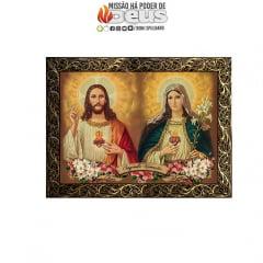QUADRO MOLDURA LUXO - SAGRADO CORAÇÃO E JESUS E IMACULADO CORAÇÃO DE MARIA